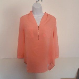Jaclyn Smith - Coral - Sheer Blouse Sz Small